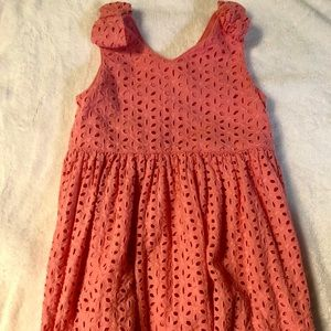 Coral colored Eyelet Dress in size 6x girls